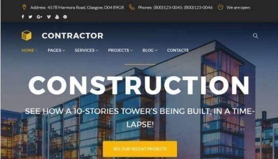 construction company wordpress theme