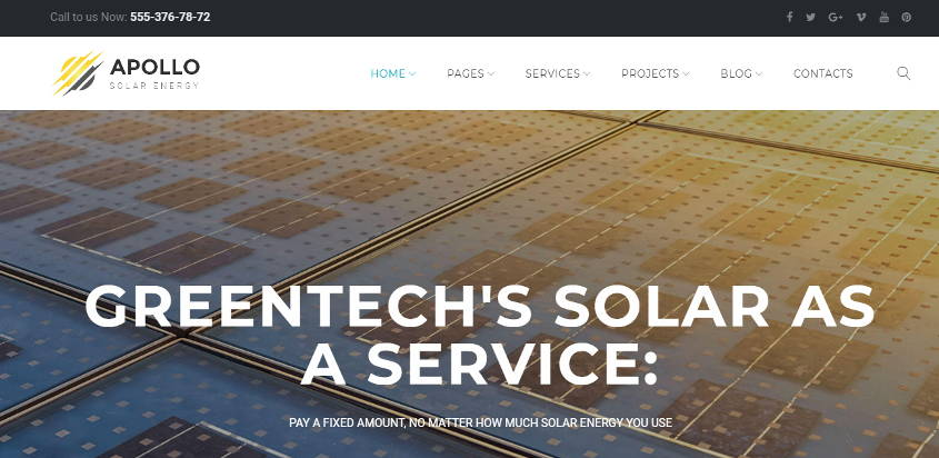 apollo solar energy company theme