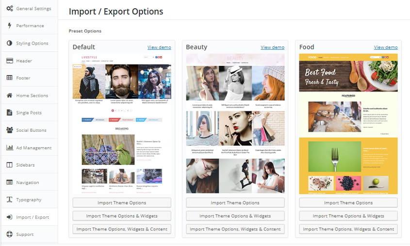lifestyle wordpress theme import export options