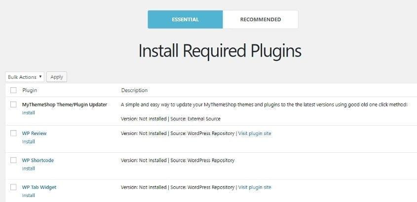 lifestyle wordpress theme- install required plugins