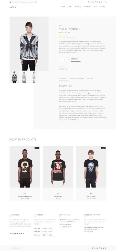 loge theme product details page