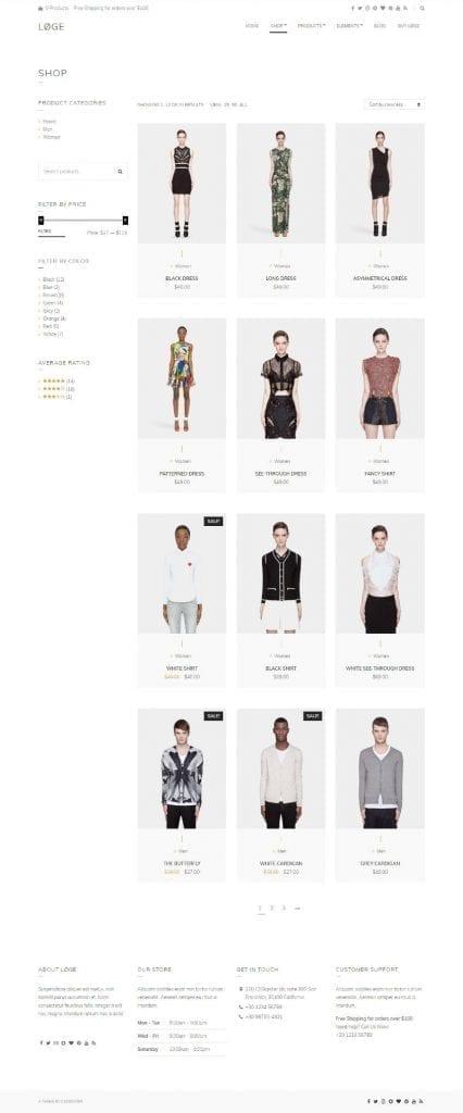 loge theme shop page