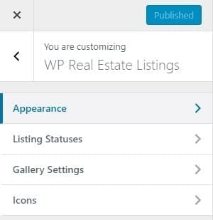 WP Real Estate Pro Plugin WordPress Customizer options