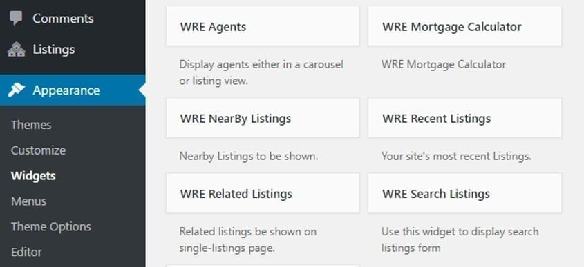WP Real Estate Pro plugin custom widgets