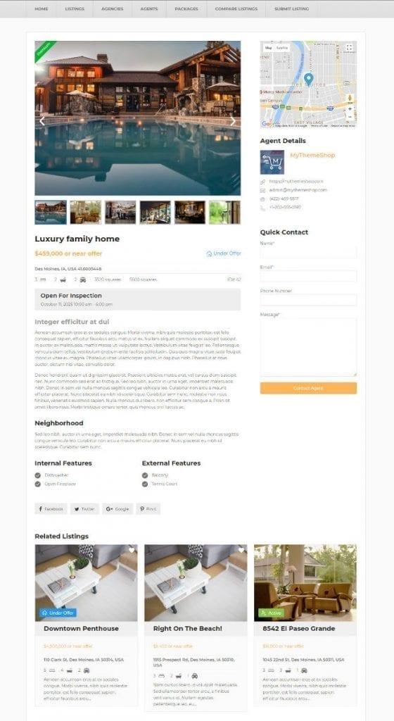 single-listing page demo