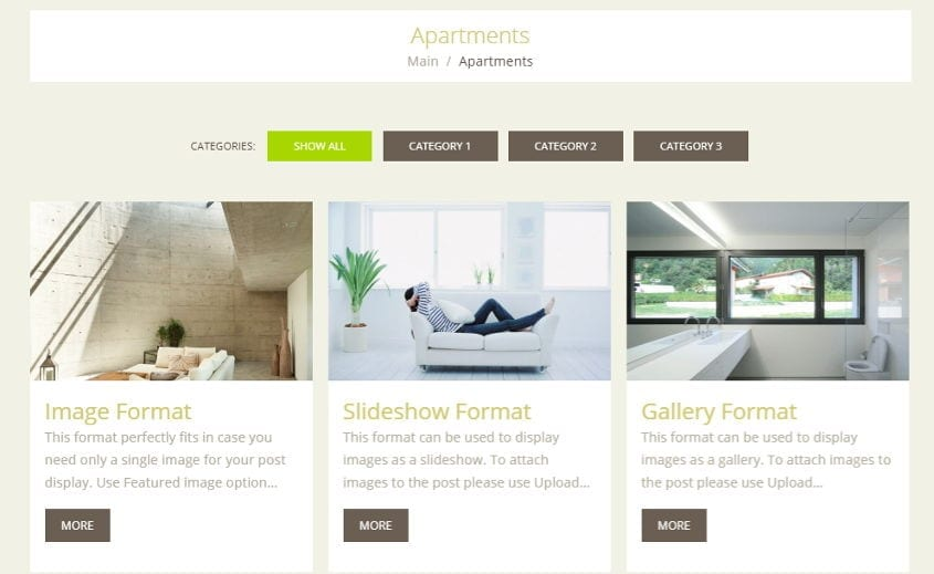 perfect rent property rental wordpress theme - apartments module