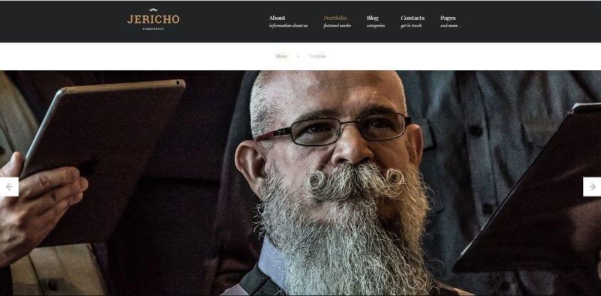 jericho barber shop wordpress theme portfolio page