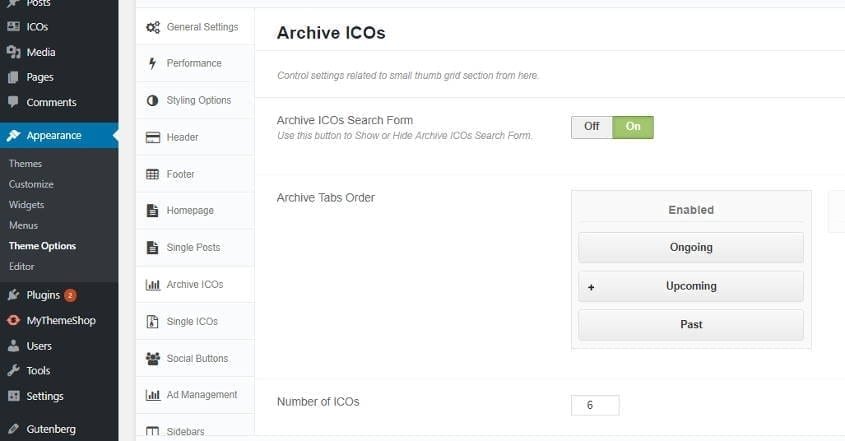 ico archive crypto wordpress theme