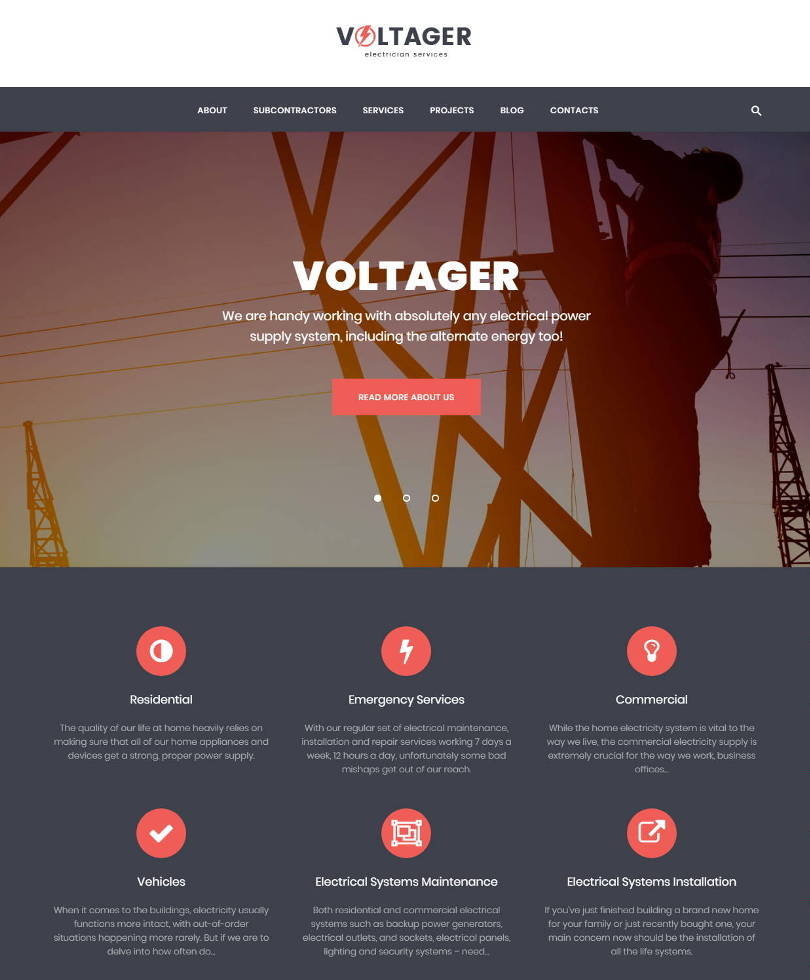 voltager electrician wordpress theme