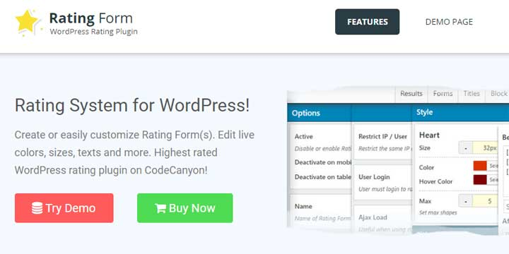 Rating Form for WordPress