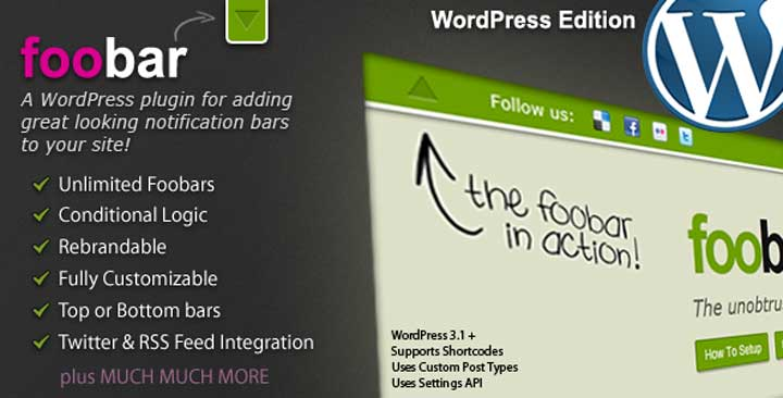 Foobar WordPress Notification Bar Plugin