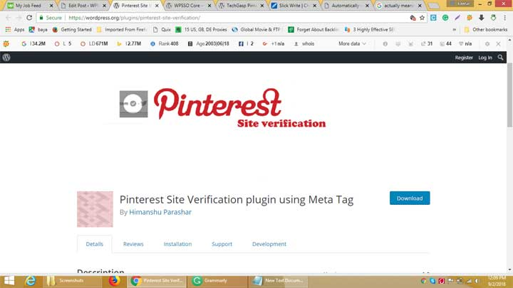 Pinterest Site Verification plugin using Meta Tag