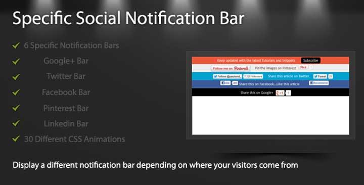 Specific Social Notification Bar