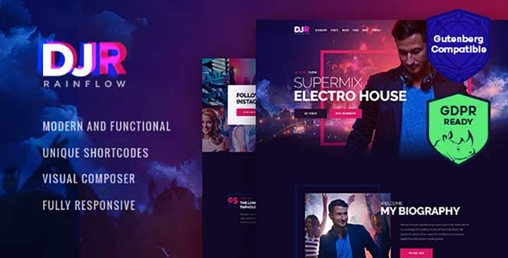 DJ Rainflow music wp theme