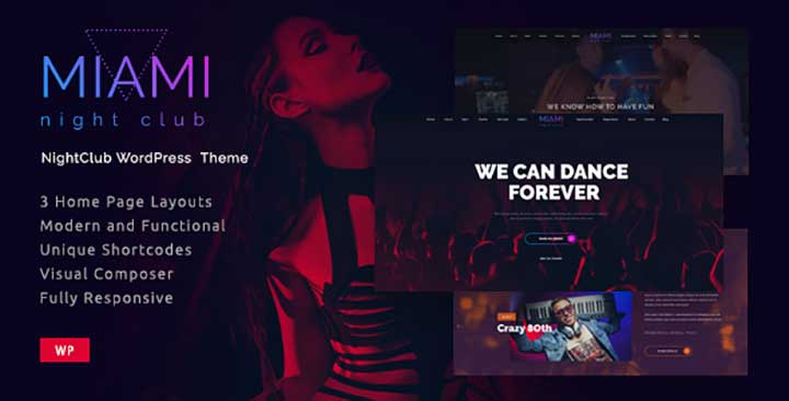Miami Nightclub WordPress Themes