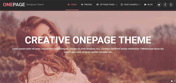 One Page WordPress Theme for Models
