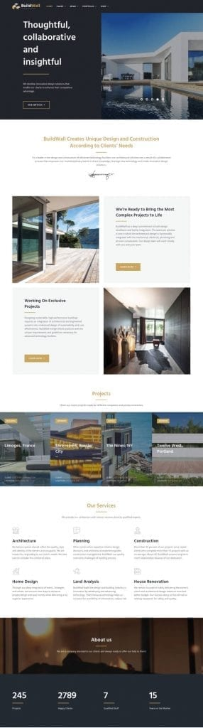 buildwall architecture wordpress theme