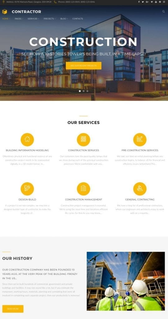 contractor - architecture wordpress themes