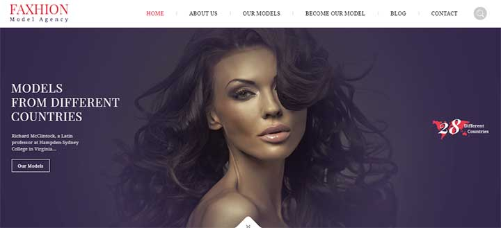 Faxhion WordPress Modelling Theme