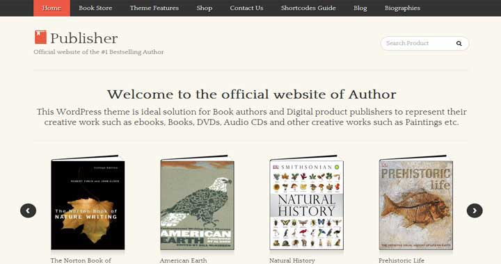 Publisher online bookstore website template