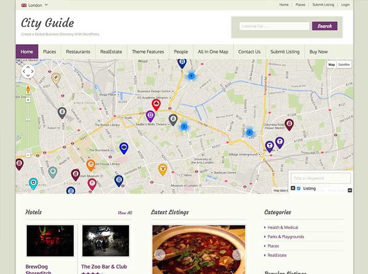 City Guide business directory theme