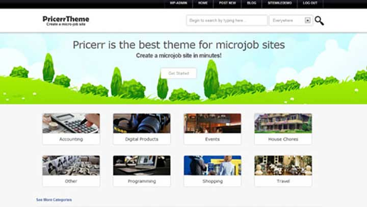 WordPress Microjob Pricerr Theme