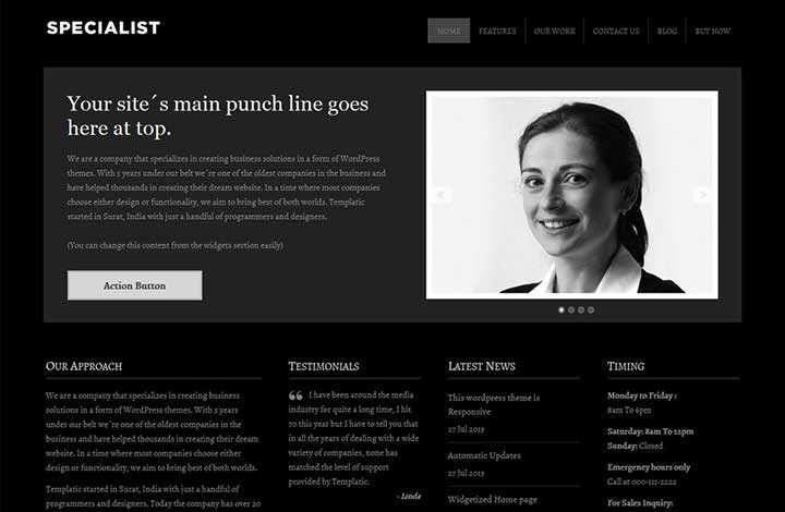 Specialist Dark WordPress Theme