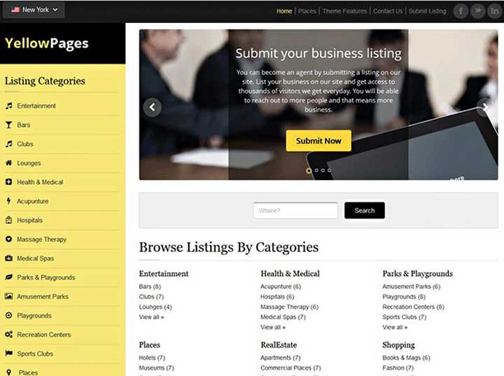 Yellow Pages Listing Theme