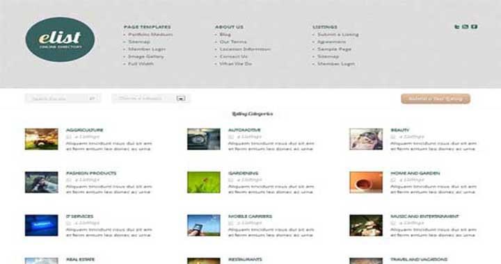 eList Directory WordPress Theme