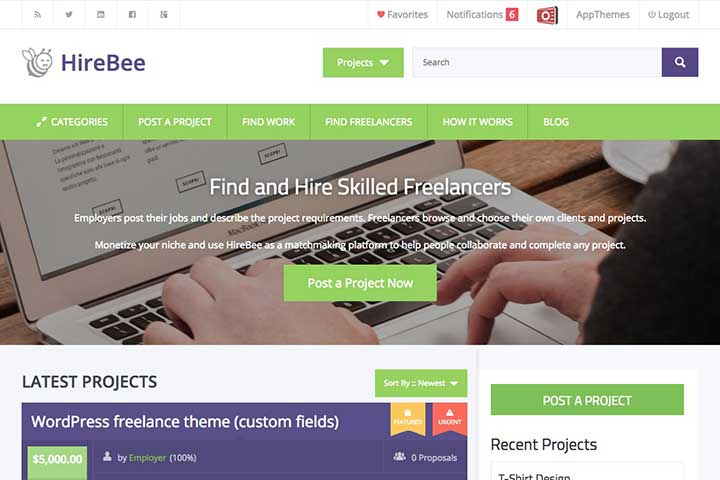 HireBee freelance WordPress Theme