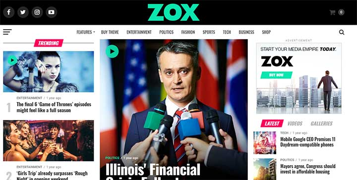 Zox News Black WordPress Themes
