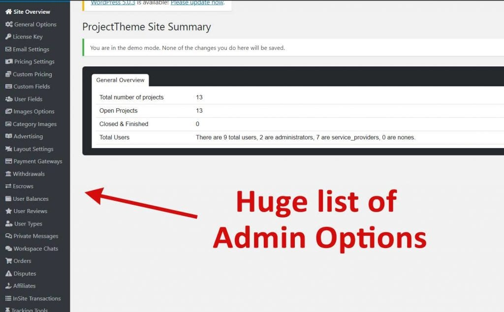 Admin Options Project Theme