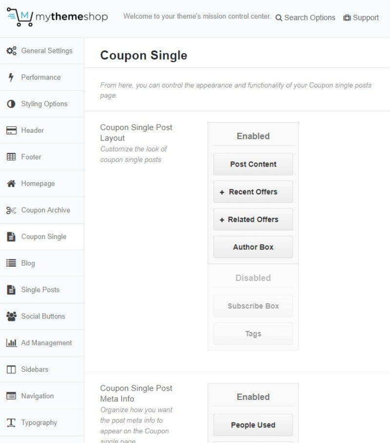 Coupon single section