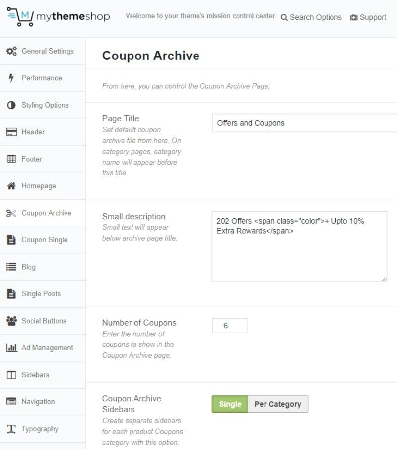 Coupon archive section