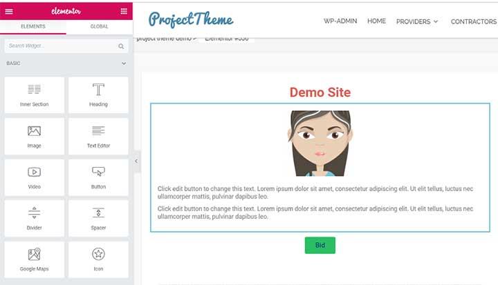 Project Bidding Theme Sitemile