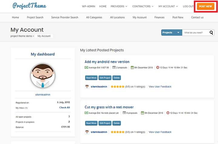 Project Bidding WordPress Theme From Sitemile