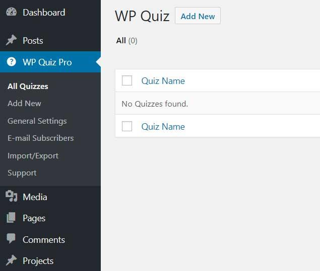 WP Quiz Pro Options