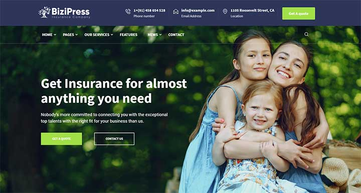 BiziPress WordPress insurance templates