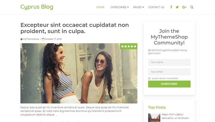 Cyprus WordPress theme for writers