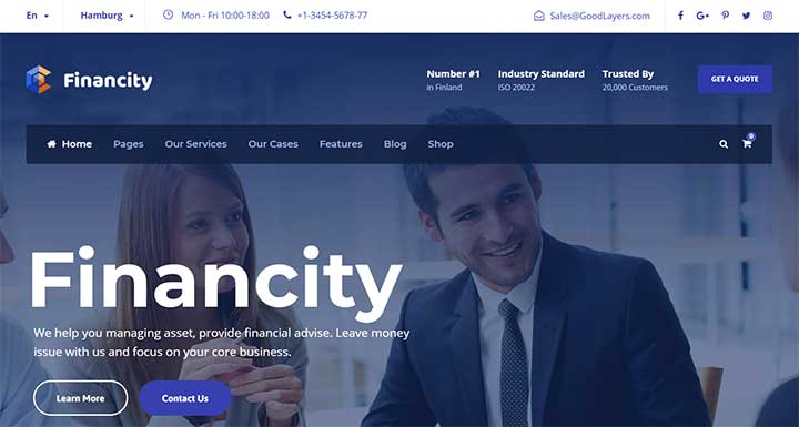 Financity WordPress insurance theme