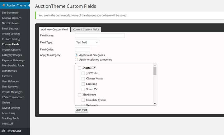 WordPress Auction Theme Settings