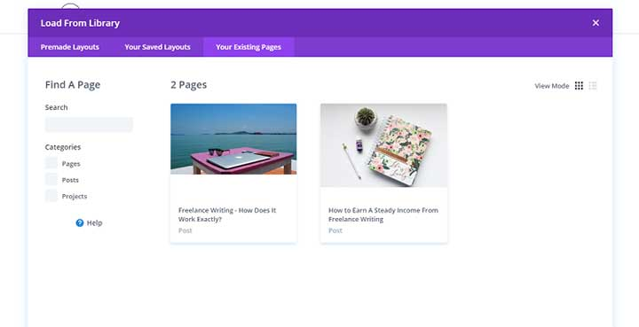 Clone Existing Divi Layout