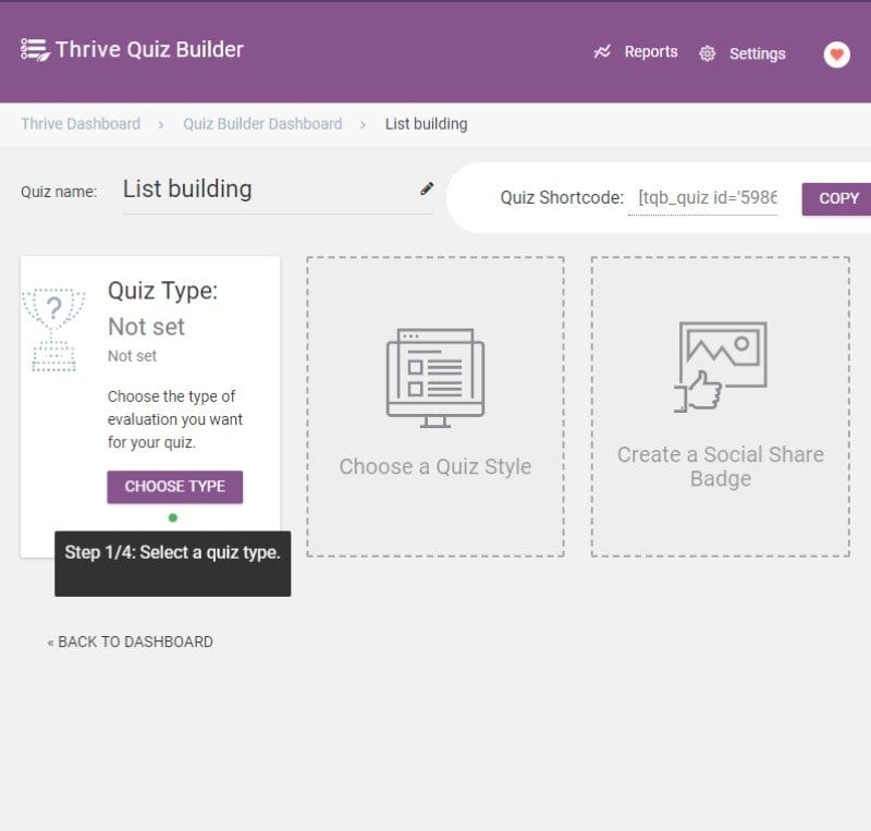 Thrive Quiz Builder Dashboard