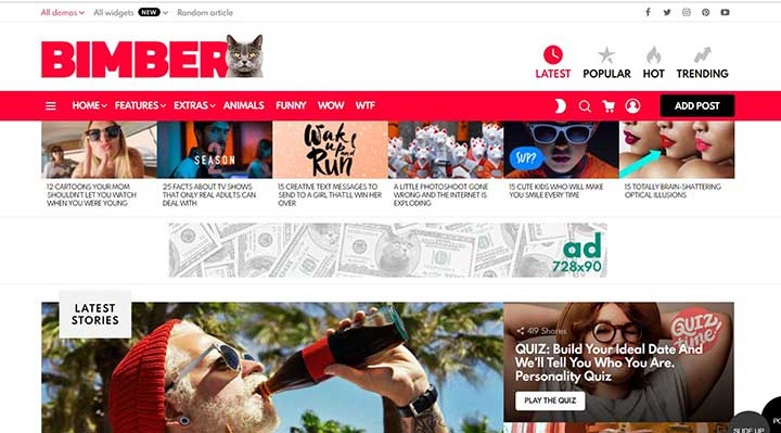 Bimber Fast Viral Magazine, Video, News WordPress Theme