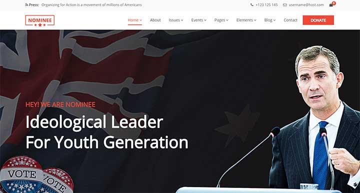 Nominee Political WordPress Theme