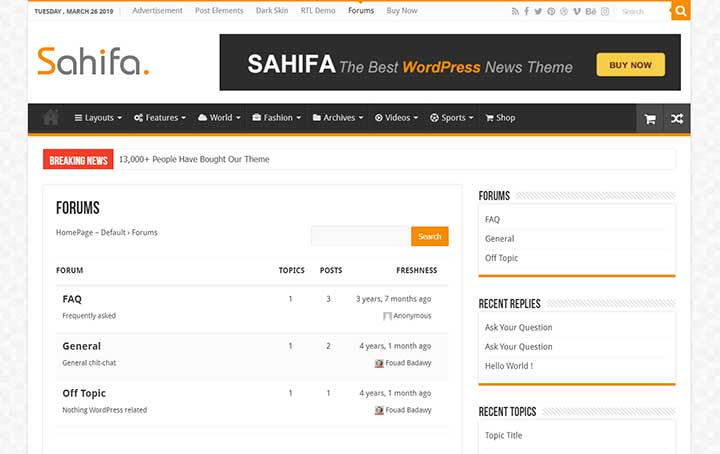 Sahifa For Forum Theme