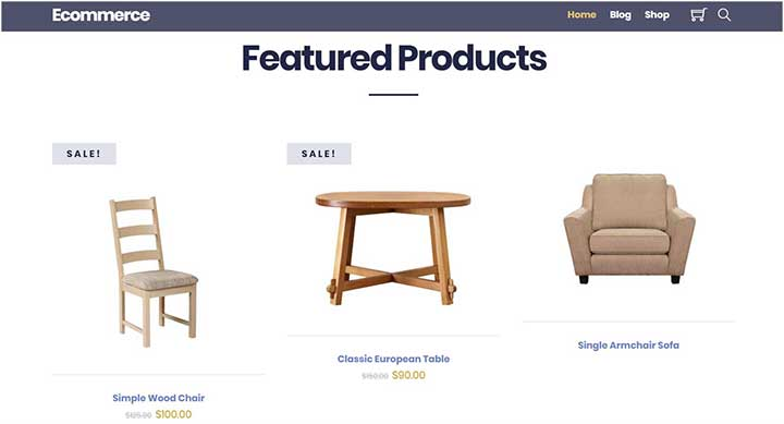 WordPress Theme for Furniture Website