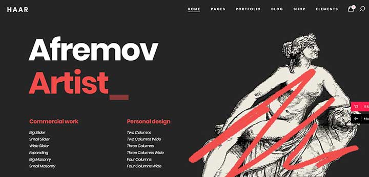 Haar Portfolio Theme for Designers, Artists and Illustrators