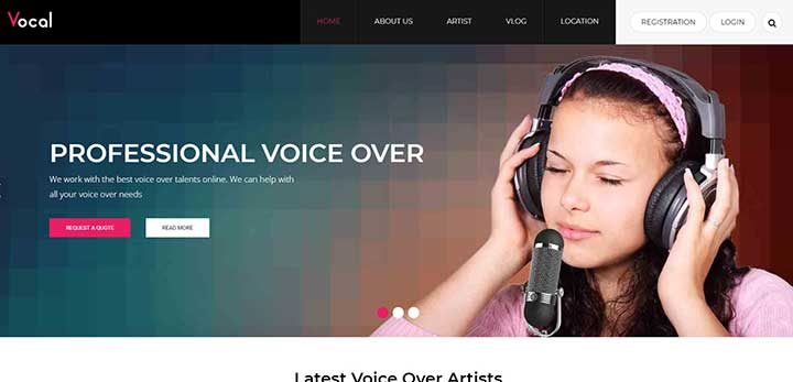 Vocal WordPress Theme for Voice Over Artists
