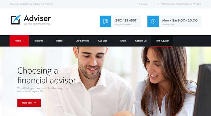 Adviser Modern Finance & Accounting WordPress Theme